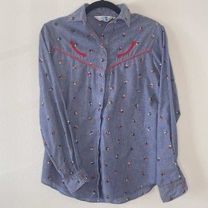 VINTAGE 1970's Western Rodeo Button-down S/M